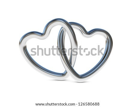 Two intertwined silver heart rings (3D render) - stock photo