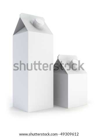 two isolated blank milk box 3d rendering