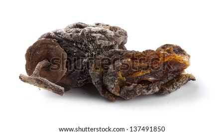 Two isolated dried persimmon on the white background