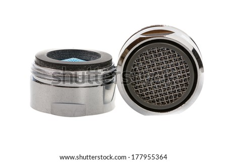 Two Isolated faucet aerators for saving water. - stock photo