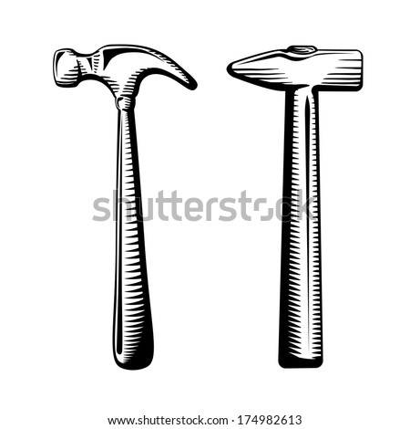 Two isolated hammers  illustration