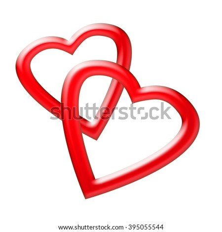 Two isolated heart on white background - stock photo
