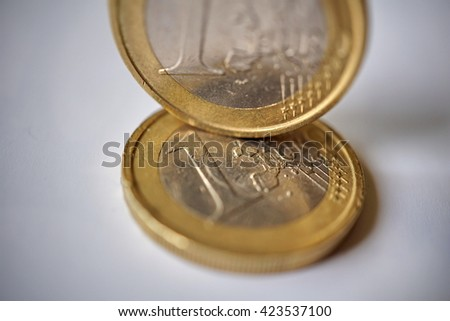 Two Isolated metal Euro coins (currency in the European Union) in the nominal value of two  EUR