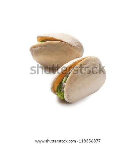 Two isolated pistachios on the white background