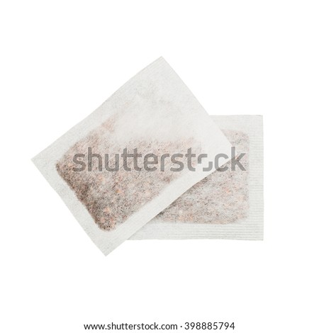 Two isolated tea bags against the white background