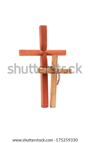 two isolated wooden crosses on white background