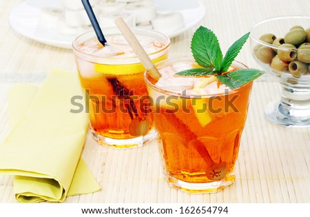 Two italian long drink cocktail: spritz