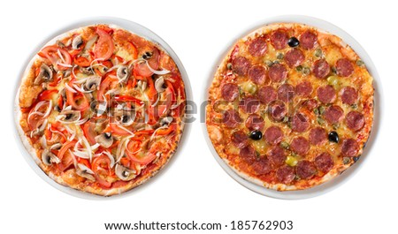 Two italian pizzas isolated on white top view