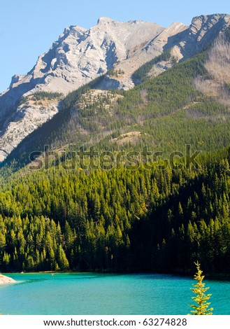 Two-Jack Lake Banff National Park Alberta Canada - stock photo