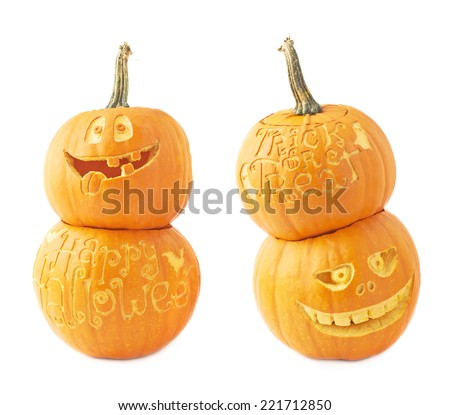 Two Jack-o'-lanterns Halloween pumpkin head composition isolated over the white background, set of two foreshortenings - stock photo