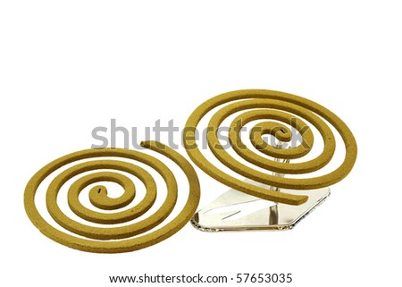 Two Japanese mosquito repellent incense coils isolated on a white background - stock photo