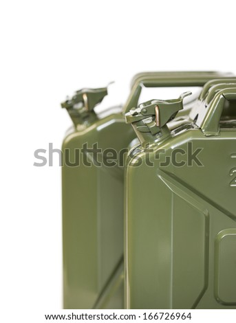 Two jerrycans isolated on white - stock photo