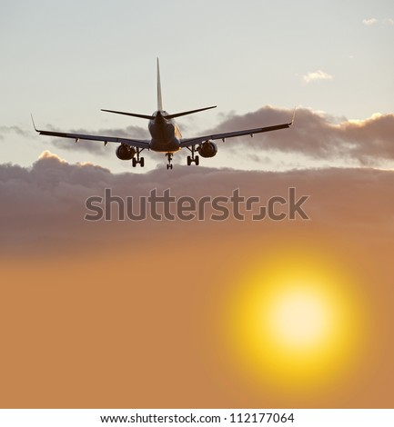 Two jet engine aircraft before landing - stock photo