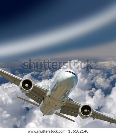 Two jet engine aircraft flying in the sky - stock photo
