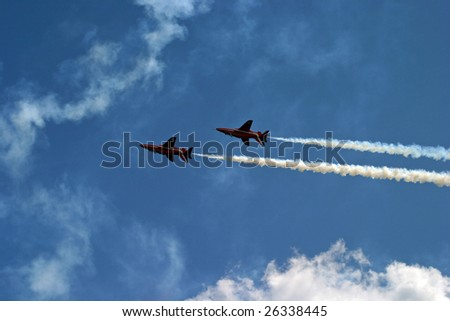 Two jets flying upside down