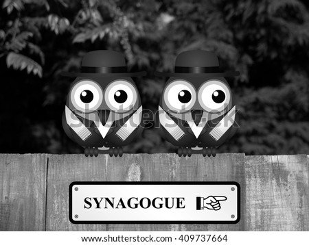 Two Jewish birds with Synagogue sign perched on a timber garden fence against a foliage background  - stock photo