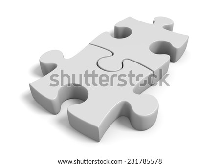 Two jigsaw puzzle pieces locked together in a connected position - stock photo