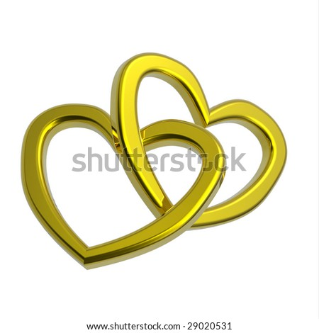 Two joined hearts of gold isolated on white. Computer generated 3d photo rendering. - stock photo