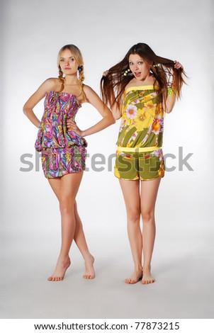 two joyful models - stock photo