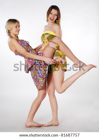 two joyful models - stock photo