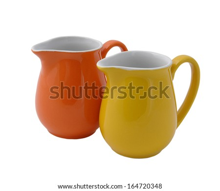two Jug isolated on white background - stock photo