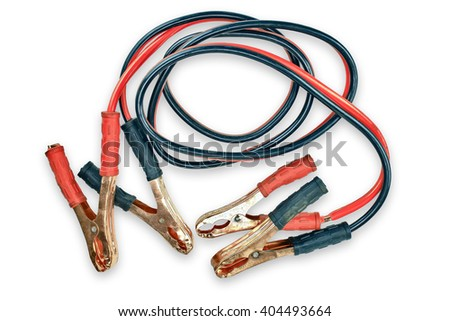 Two jumper cables for car isolated on white background. - stock photo