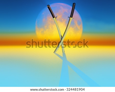 two katana sword on full moon background