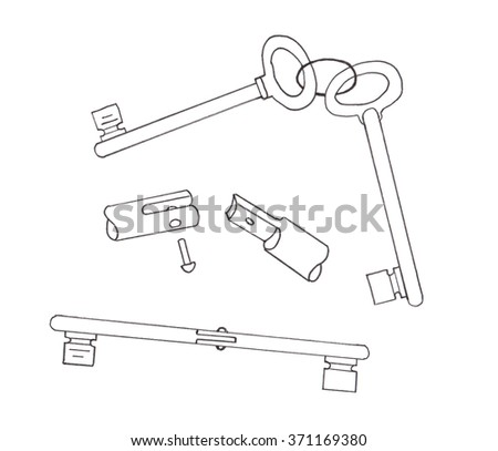 Two keys are spliced by a hinge. Sketch - stock photo