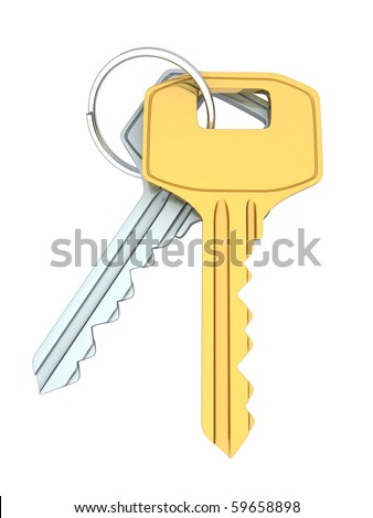 Two keys (done in 3d, isolated background)