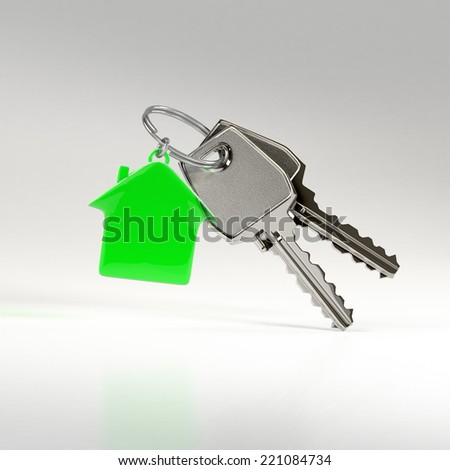 Two keys on a ring with a green plastic house chain. Concept of buying or renting a house, new home. Eco home, environment friendly household. - stock photo