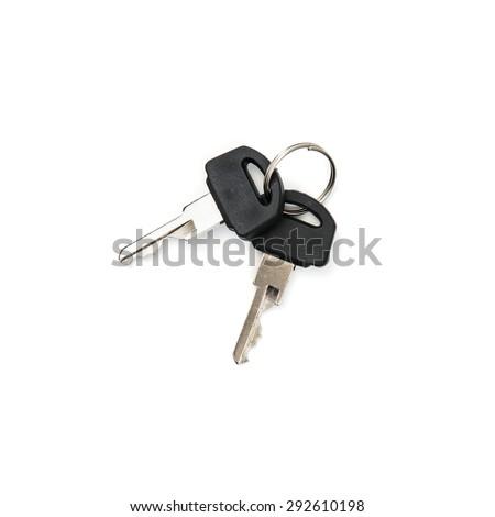 Two keys on the white background. - stock photo