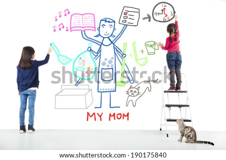 two kids drawing her mother working tasks - stock photo