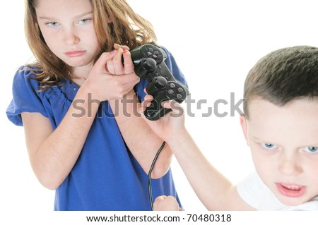 two kids fighting over video console