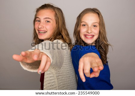 two kids having fun - stock photo