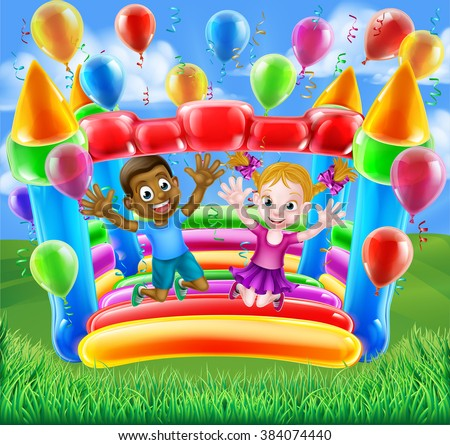 Two kids having fun jumping on a bouncy castle house with balloons and streamers - stock photo