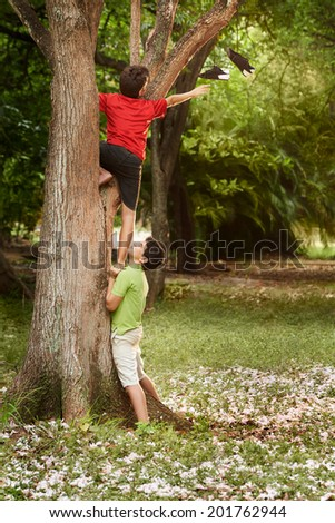 two kids helping each other to climb on tree and reaching for shoes on branch - stock photo