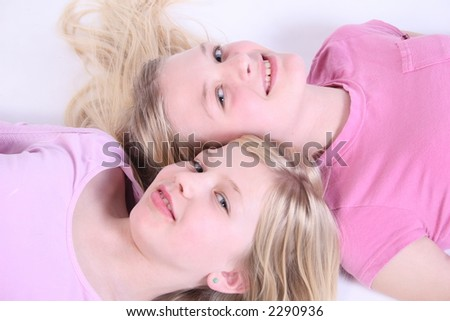 Two kids together, friends - stock photo