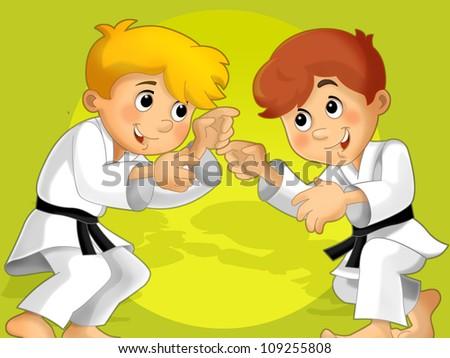 Two kids training martial arts v 2 - illustration for the children - stock photo