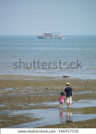 two kids walking on a beach  with beautiful sea and sky
