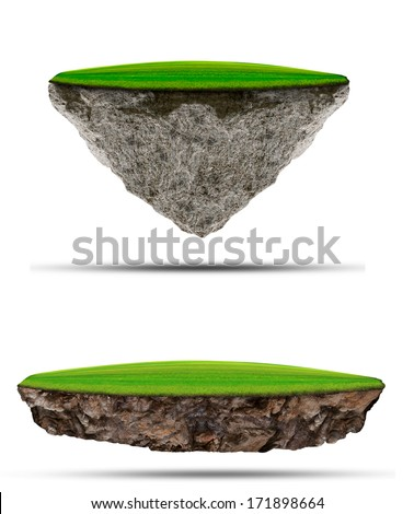 two kind of floating green grass  field over rock island on white use for multipurpose nature and creative background  or backdrop - stock photo