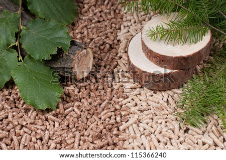 Two kind of pellets and materials pellets made - stock photo