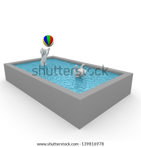 Two kinds play ball in a pool. - stock photo