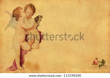 two kissing angels nostalgic greeting card - stock photo