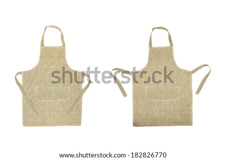 Two kitchen gray aprons. Front view. Isolated on a white background - stock photo