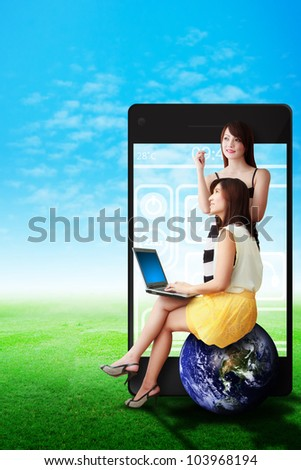 Two lady and smart phone background : Elements of this image furnished by NASA