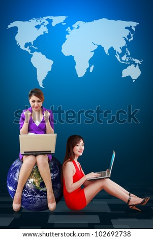 Two lady and world map background : Elements of this image furnished by NASA - stock photo
