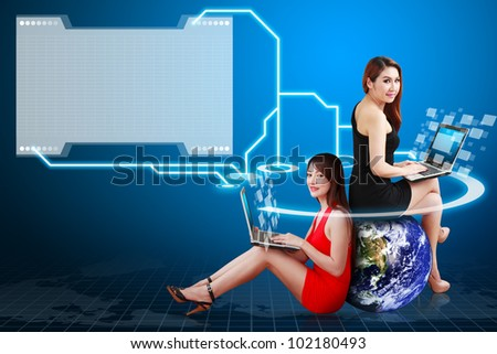 Two lady connected to folder icon : Elements of this image furnished by NASA