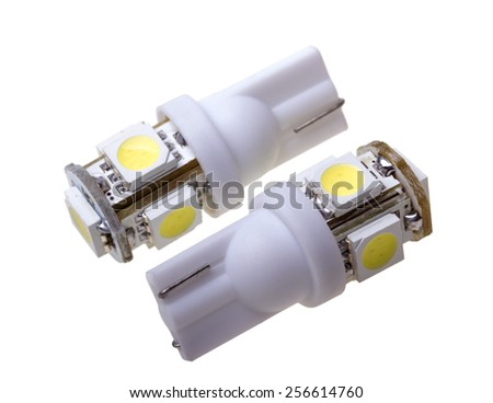 Two Lamp for auto with 5 LEDs isolated on the white background - stock photo