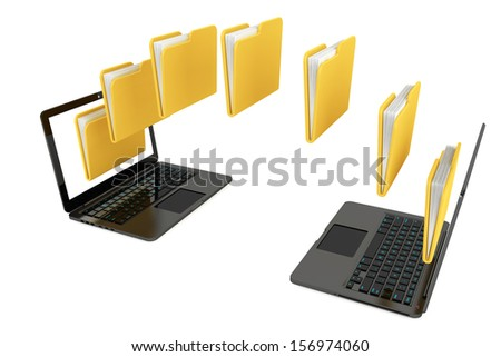 Two laptop computers with folders transferring between each other on a white background - stock photo