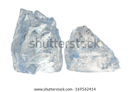 Two large pieces of ice on a white background - stock photo